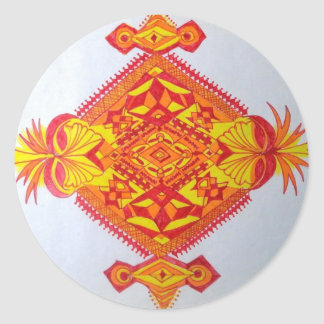 a funny yellow red man face round sticker