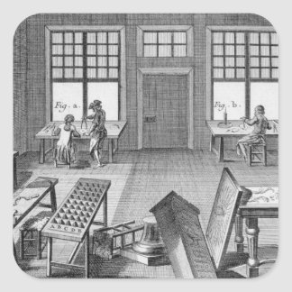 A furniture inlayer's workshop, from the 'Encyclop Square Sticker