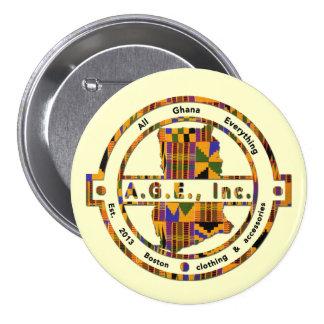 A.G.E., Inc. Kente Print Logo Button