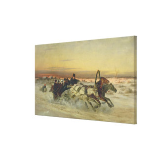 A Galloping Winter Troika at Dawn Canvas Print