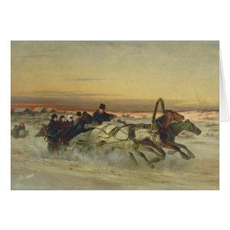 A Galloping Winter Troika at Dawn Card