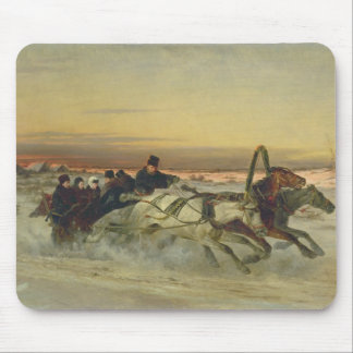 A Galloping Winter Troika at Dawn Mouse Mat