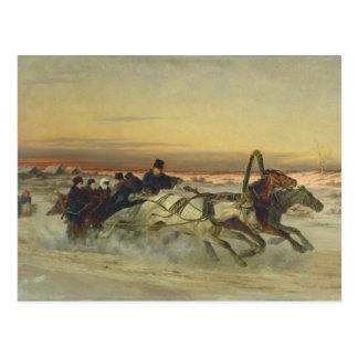 A Galloping Winter Troika at Dawn Postcard