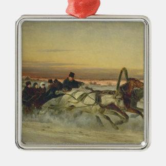 A Galloping Winter Troika at Dawn Silver-Colored Square Decoration