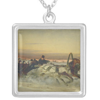 A Galloping Winter Troika at Dawn Silver Plated Necklace