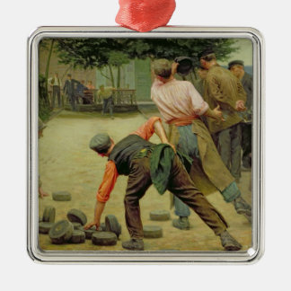A Game of Bourles in Flanders, 1911 Silver-Colored Square Decoration