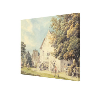 A Game of Bowls on the Bowling Green outside the B Canvas Print