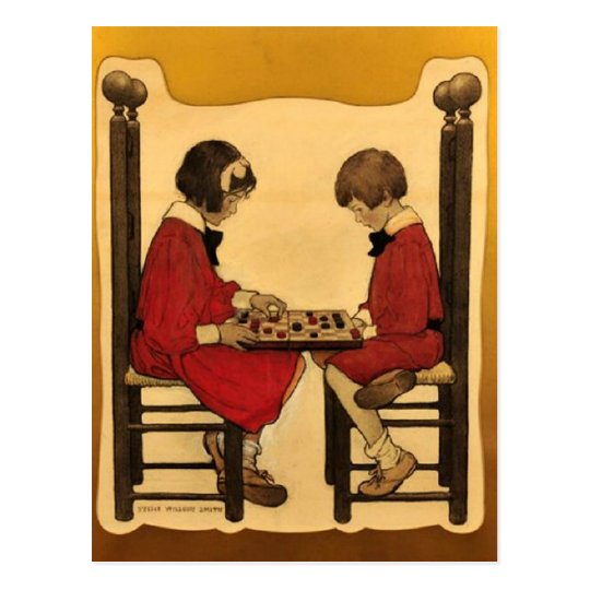 """A Game of Checkers"" Postcard"