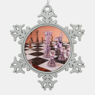 A Game of Chess Pewter Snowflake Decoration