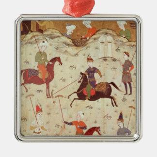 A Game of Polo Silver-Colored Square Decoration