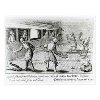A Game of Real Tennis with Sport Ballads below Postcard