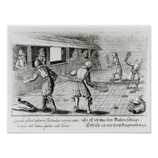 A Game of Real Tennis with Sport Ballads below Poster