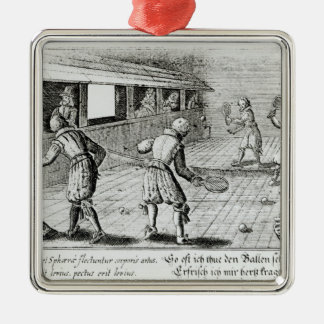 A Game of Real Tennis with Sport Ballads below Silver-Colored Square Decoration