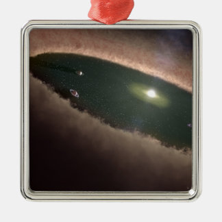 A gap in a protoplanetary, or planet-forming Silver-Colored square decoration