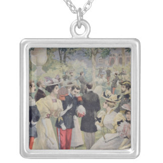 A Garden party at the Elysee Square Pendant Necklace