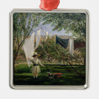 A Garden Scene, with a boy Christmas Ornament