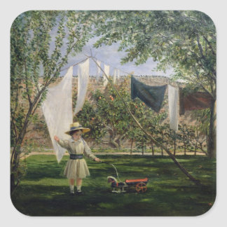 A Garden Scene, with a boy Square Sticker