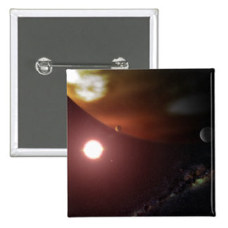 A gas giant planet orbiting a red dwarf star 15 cm square badge