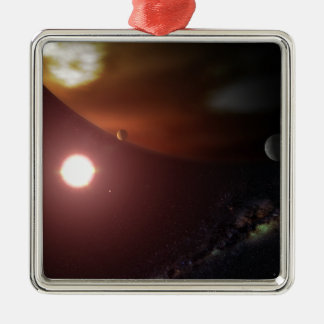 A gas giant planet orbiting a red dwarf star christmas ornament