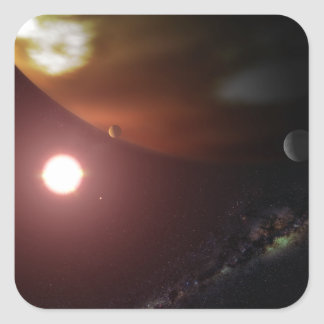 A gas giant planet orbiting a red dwarf star square sticker
