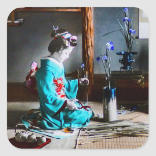 A Geisha Arranging Iris Flowers Vintage Old Japan Square Sticker