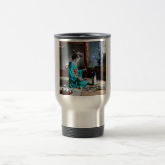 A Geisha Arranging Iris Flowers Vintage Old Japan Stainless Steel Travel Mug