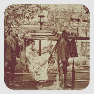 A Geisha being carried in a litter (sepia photo) Square Sticker