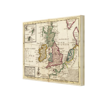A general map of Great Britain and Ireland Stretched Canvas Print