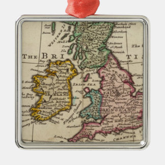 A general map of Great Britain and Ireland Silver-Colored Square Decoration