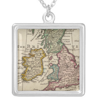 A general map of Great Britain and Ireland Silver Plated Necklace