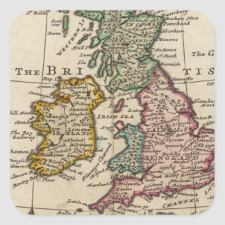 A general map of Great Britain and Ireland Square Sticker