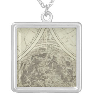 A general map of terraqueous globe or the world silver plated necklace
