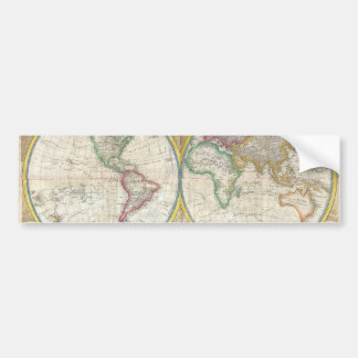 A General Map of the World by Samuel Dunn 1794 Bumper Sticker