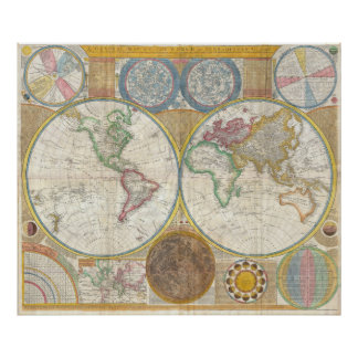 A General Map of the World by Samuel Dunn 1794 Poster