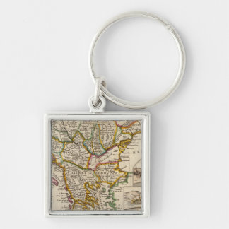 A general map of Turkey in Europe Silver-Colored Square Key Ring