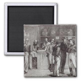 A general shout', inside a bush tavern, 1878 square magnet
