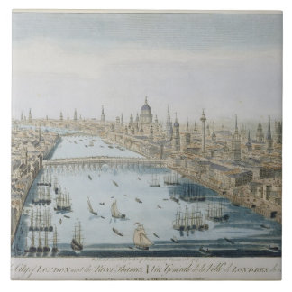 A General View of the City of London and the River Large Square Tile
