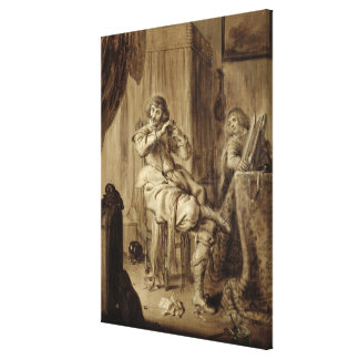 A Gentleman at his Toilet 1660 Stretched Canvas Print