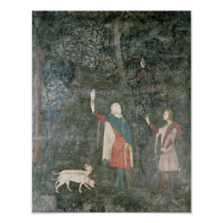 A Gentleman Hawking, from the Stag Room, 1343 Poster