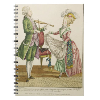 A gentleman playing the violin while a lady dances notebooks