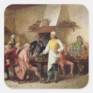 A Gentleman's Debate, 1881 (oil on panel) Square Sticker