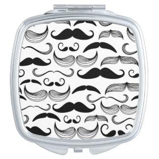A Gentlemen's Club. Mustache pattern 2 Compact Mirrors