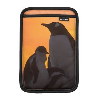 A gentoo penguin adult and chick are silhouetted iPad mini sleeve