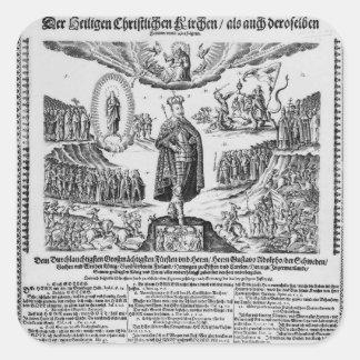 A German broadsheet depicting Adolphus Champion Square Sticker