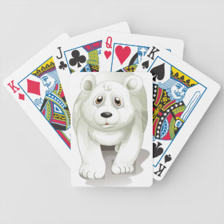 A giant white polar bear bicycle playing cards