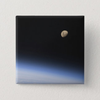 A gibbous moon visible above Earth's atmosphere 15 Cm Square Badge