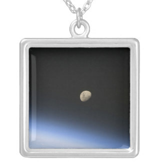 A gibbous moon visible above Earth's atmosphere 2 Square Pendant Necklace
