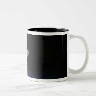 A gibbous moon visible above Earth's atmosphere 2 Two-Tone Coffee Mug
