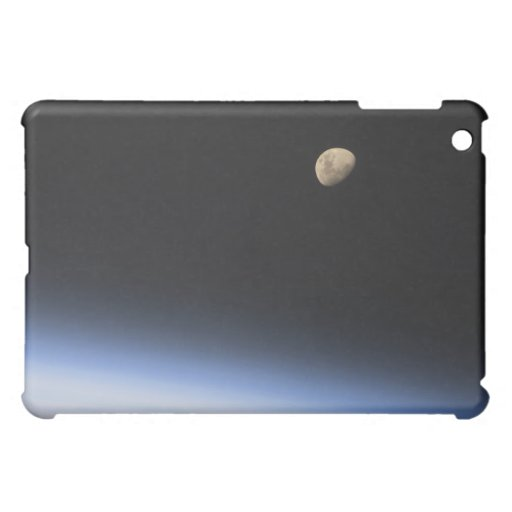 A gibbous moon visible above Earth's atmosphere iPad Mini Cover
