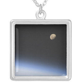 A gibbous moon visible above Earth's atmosphere Square Pendant Necklace